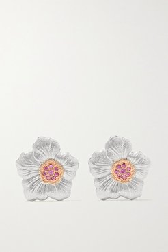 Gardenia Sterling Silver And Pink Gold Vermeil Sapphire Earrings