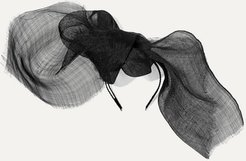 Net Sustain Nuage Bow-detailed Sinamay Straw And Grosgrain Fascinator - Black