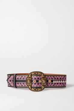 Printed Leather Waist Belt - Purple