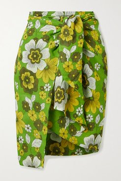 Mosa Floral-print Tie-front Cotton-voile Mini Skirt - Green