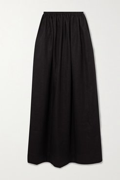 Pleated Linen And Cotton-blend Maxi Skirt - Black