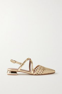 Es Verda Woven Metallic Leather Point-toe Flats - Gold
