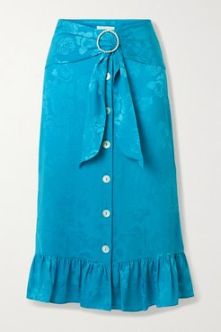 Belted Ruffled Floral Satin-jacquard Midi Skirt - Turquoise