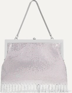 Zoe Fringed Chainmail Tote - Silver