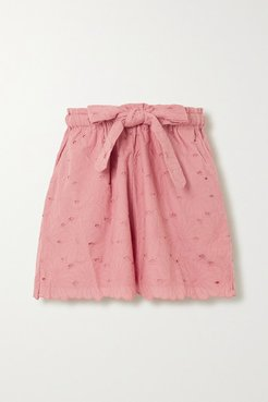 Wilma Butfiet Belted Broderie Anglaise Cotton Shorts - Pink