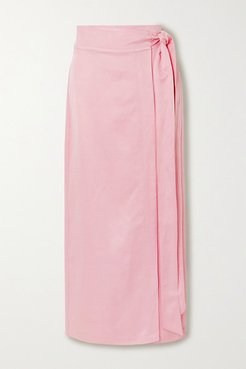 Woven Wrap Maxi Skirt - Baby pink