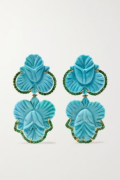 18-karat Gold, Turquoise And Emerald Earrings