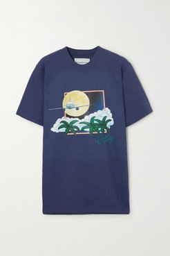 Printed Cotton-jersey T-shirt - Navy