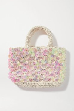 Net Sustain Bonsai Mini Sequin-embellished Macramé Tote - Off-white