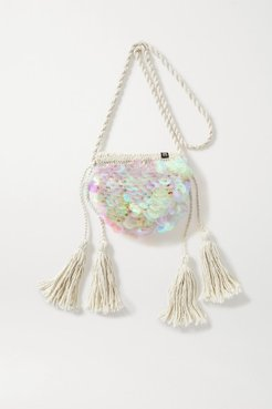 Net Sustain Oak Paillette-embellished Macramé Shoulder Bag - White