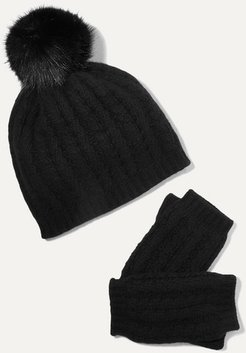 Faux Fur-trimmed Cable-knit Cashmere Beanie And Fingerless Gloves Set - Black
