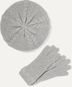 Cable-knit Cashmere Beret And Gloves Set - Gray