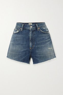 Kristen Frayed Denim Shorts - Mid denim