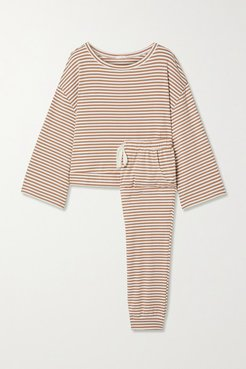 Quincy Striped Jersey Pajama Set - Tan