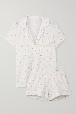 Giving Printed Stretch-modal Jersey Pajama Set - Ivory