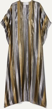 Striped Silk-blend Lurex Kaftan - Silver