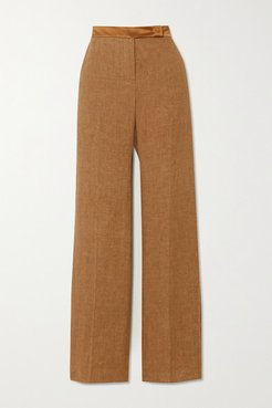 Salubre Leather And Satin-trimmed Linen Wide-leg Pants - Camel