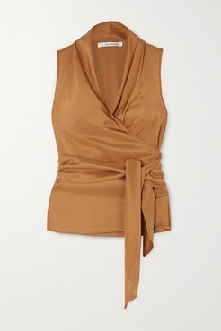 Elce Silk Wrap Top - Camel