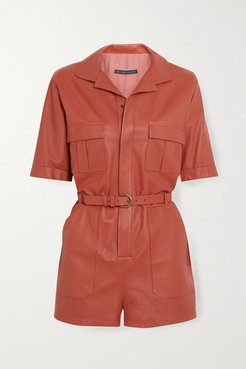 Belted Leather Playsuit - Peach