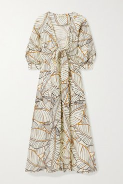 Asilah Tie-front Printed Linen Midi Dress - Ivory