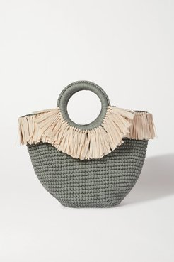Sun Mini Leather And Faux Raffia-trimmed Crocheted Cotton Tote - Teal