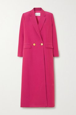 Double-breasted Crepe Coat - Magenta