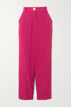 Cropped Crepe Straight-leg Pants - Magenta