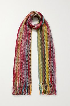 Fringed Crochet-knit Scarf - Red