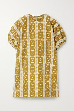 Embroidered Cotton-voile Mini Dress - Camel