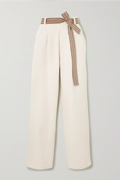 Belted Cotton-blend Wide-leg Pants - White