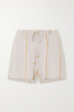 Striped Woven Shorts - Ecru