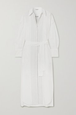 Belted Bead-embellished Cotton-poplin Midi Shirt Dress - White
