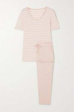 Laura Striped Cotton And Modal-blend Jersey Pajama Set - Taupe