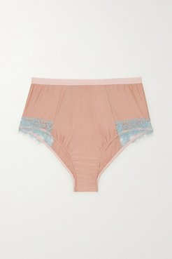 Ottalie Corded Lace-trimmed Satin-jersey Briefs - Peach