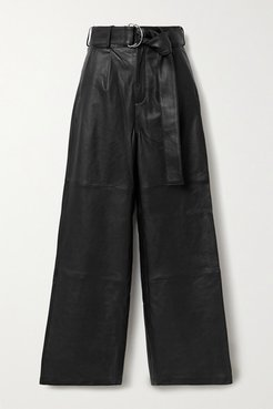 Poppy Leather Wide-leg Pants - Black