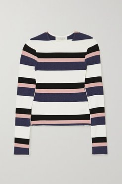 Veronique Striped Ribbed-knit Top - Blue