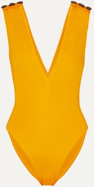 Gaia Button-embellished Swimsuit - Yellow