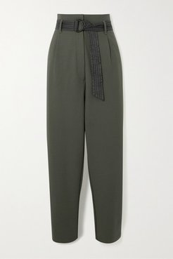 Ergo Belted Crepe Pants - Army green