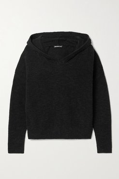 Ribbed Cotton And Linen-blend Hoodie - Black