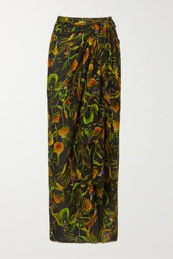 Annabel's Printed Cotton-voile Pareo - Black
