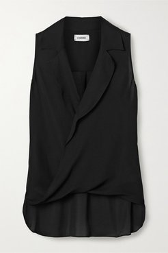 Freja Wrap-effect Silk-georgette Blouse - Black