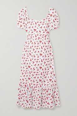 Fromer Printed Cotton-blend Poplin Midi Dress - White