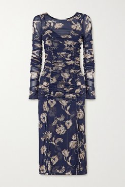 Corinne Ruched Floral-print Stretch-mesh And Crepe Dress - Navy