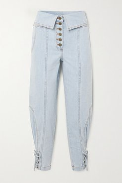 Kingston Lace-up Fold-over High-rise Tapered Jeans - Light denim
