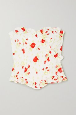 Dolly Ruffled Floral-print Cotton-blend Poplin Bustier Top - White