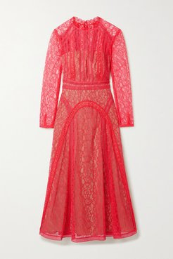 Crochet-trimmed Paneled Corded Lace Midi Dress - Pink
