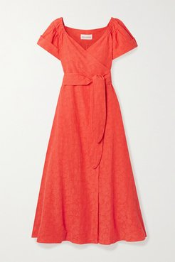 Adelina Organic Cotton And Linen-blend Wrap Midi Dress - Orange