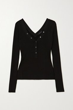 Division Ribbed Stretch-jersey Top - Black