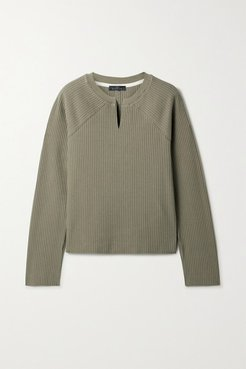Ribbed Stretch-cotton Sweater - Green