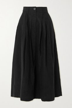 Net Sustain Tulay Pleated Lyocell And Organic Linen-blend Midi Skirt - Black
